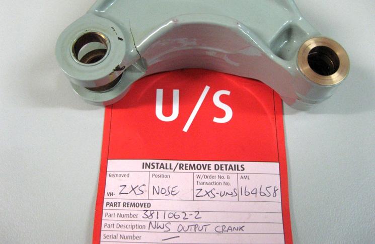 SDR 510018718 Saab SF340B Nose landing gear bellcrank cracked. Nose landing gear strut steering collar bellcrank cracked. P/No: 38110622. TSO: 1008 hours