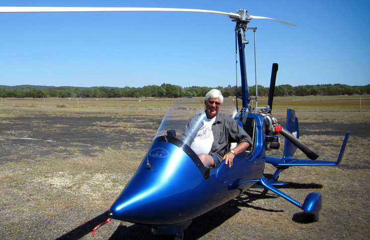 Richard Arnot in his gyrocopter