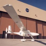 The long, slender wing of the Perseus B remotely piloted research aircraft can be clearly seen in this photo, taken on the ramp of NASA's Dryden Flight Research Center in September 1999.