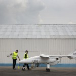 A team of technicians prepares for the inaugural flight of an Unmanned-Unarmed Aerial Vehicles (UAV) in Goma, North Kivu province.