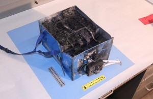 Thermal damage to the battery post-fire. Source: NTSB