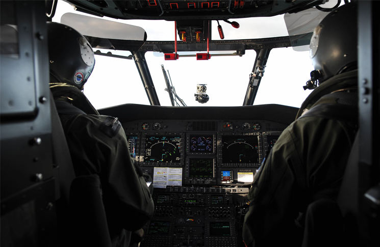 Interior of helicopter cockpit