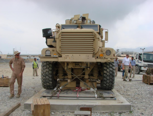Photo of a 18-ton Cougar MRAP prior to loading. Image: NTSB