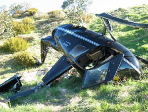 An R44 after crashing at Mount Buller in November 2013. Image: ATSB | Victoria Police