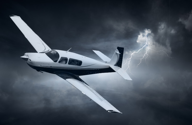 Mooney flying through a storm