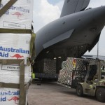 Australian Defence Force personnel redistribute Australian Aid into a RAAF C-17A Globemaster aircraft at Bangkok International Airport, Thailand, during Operation NEPAL ASSIST 2015