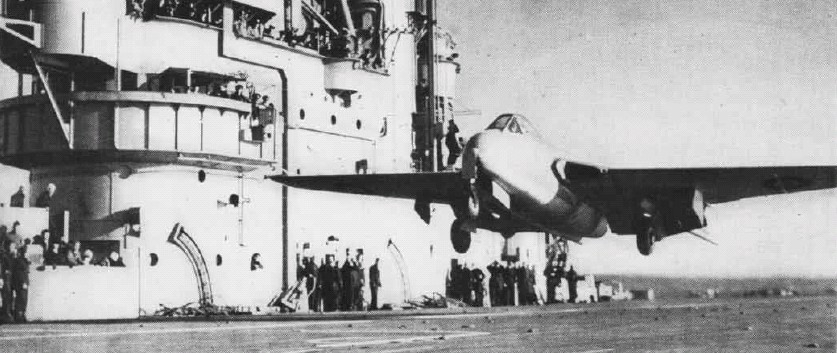 On 3 December 1945, Brown became the first pilot to land on and take-off (pictured) from an aircraft carrier (HMS Ocean) in a jet aircraft.