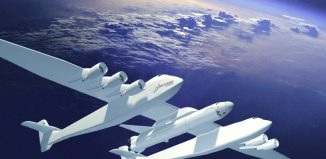 Artist's depiction of Stratolaunch carrier at apogee