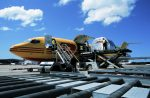 Horse cargo being loaded onto a DHL Boeing 727 (VH-DHE)