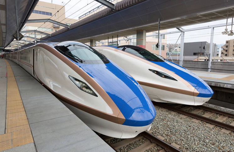 Two E7 series Shinkansen bullet trains arrived at JR Nagano Station in Nagano, Japan
