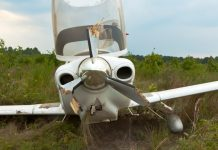Small aircraft with propeller damage
