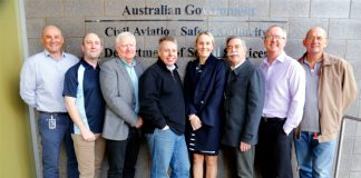 Our Aviation safety advisor team, left to right: Iain White, Brad Johnson, terry Horsam, Tim Penney, Prue Zamora, Michael White, Craig Peterson and Peter Ball.