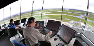 Inside Airservices air traffic control tower at Aelaide Airport. The tower is equipped with the latest state of the art technology.