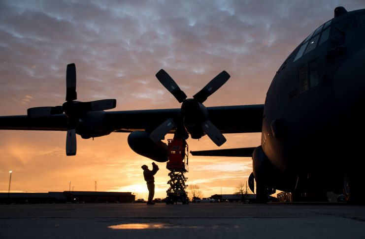 The sun rises over a flight line of C-130H Hercules in the early morning at the 179th Airlift Wing, Mansfield, Ohio, as maintainers perform engine runs, Dec. 21, 2017. The 179th Airlift Wing is always on a mission to be the first choice to respond to state and federal missions with a trusted team of Airmen.