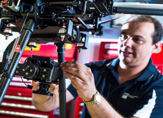 Gavin Broadbent with custom gimbal for hyperspectral camera