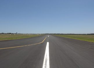 Looking down a runway