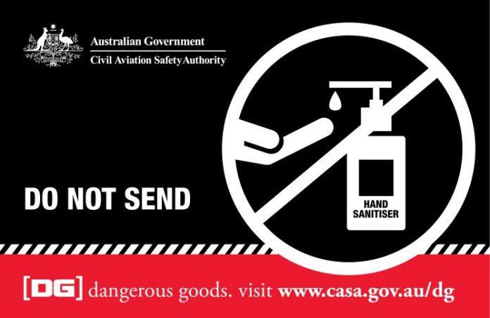 Artwork about hand sanitiser showing message 'Do not send'.