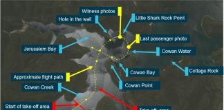 Route of seaplane