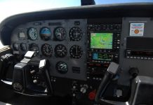 The instruments in the cockpit of a Cessna 172