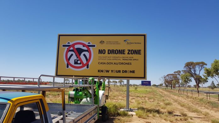 drone safety sign at Alice Springs airport