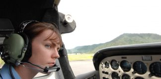 Sally Scott, CFI (Chief Flying Instructor) at North Queensland Aero Club (NQAC) preparing for take off in a Cessna 172N.