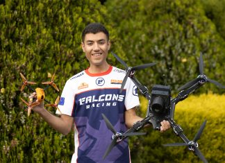 Thomas Bitmatta with drones he flies: (left) a JS-1 racing drone; (right) the XM2 Interceptor designed for shooting videos.