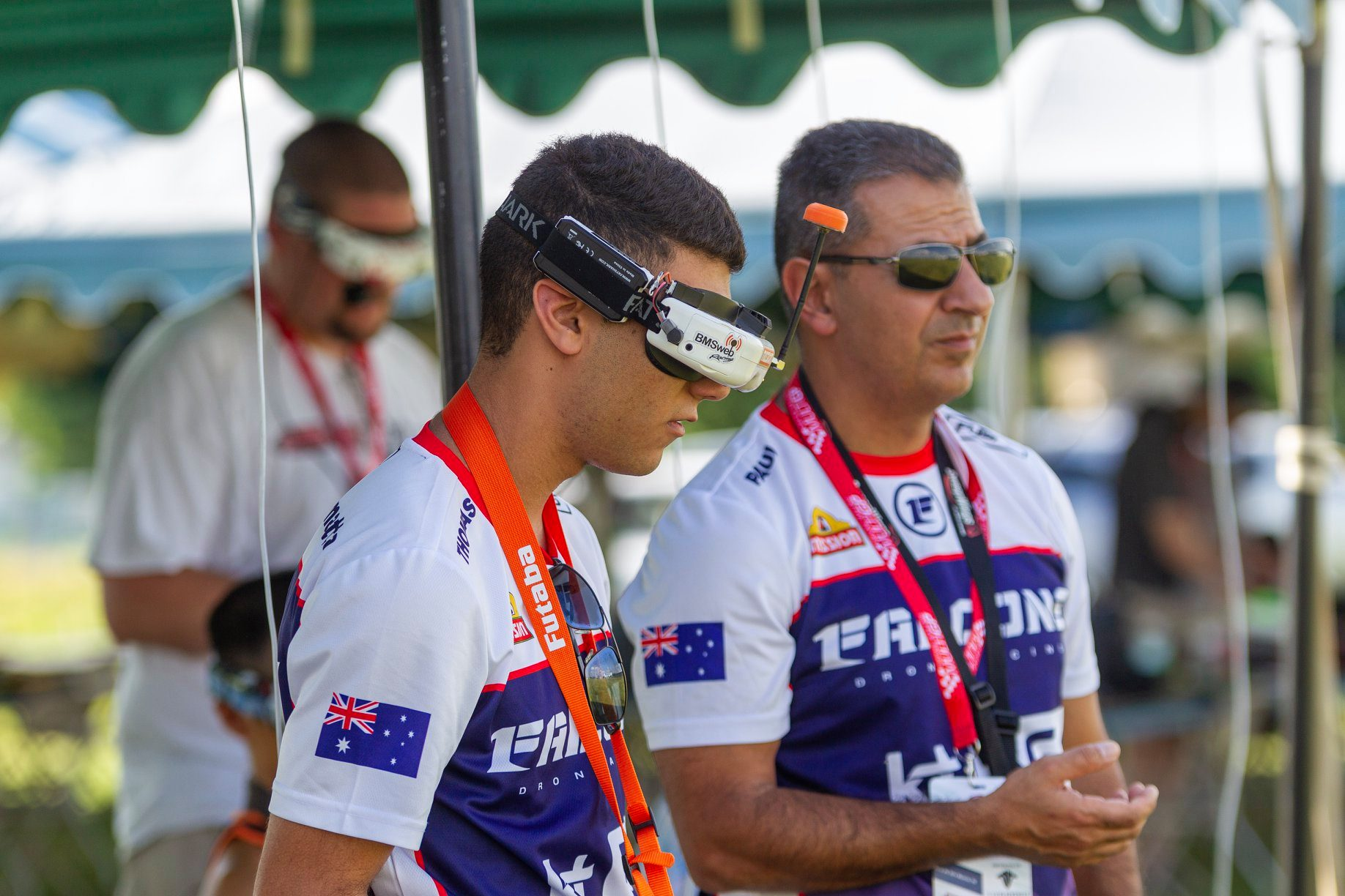 Thomas (left) and Paul at the MultiGP International Open World Cup in Muncie, USA, in 2019.
