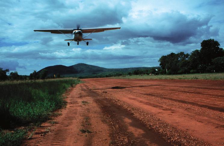 Aircraft landing on a remote bush airstrip