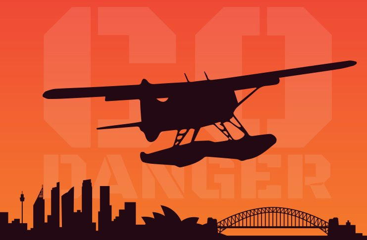 Illustration: silhouette of sea plane over Sydney Skyline