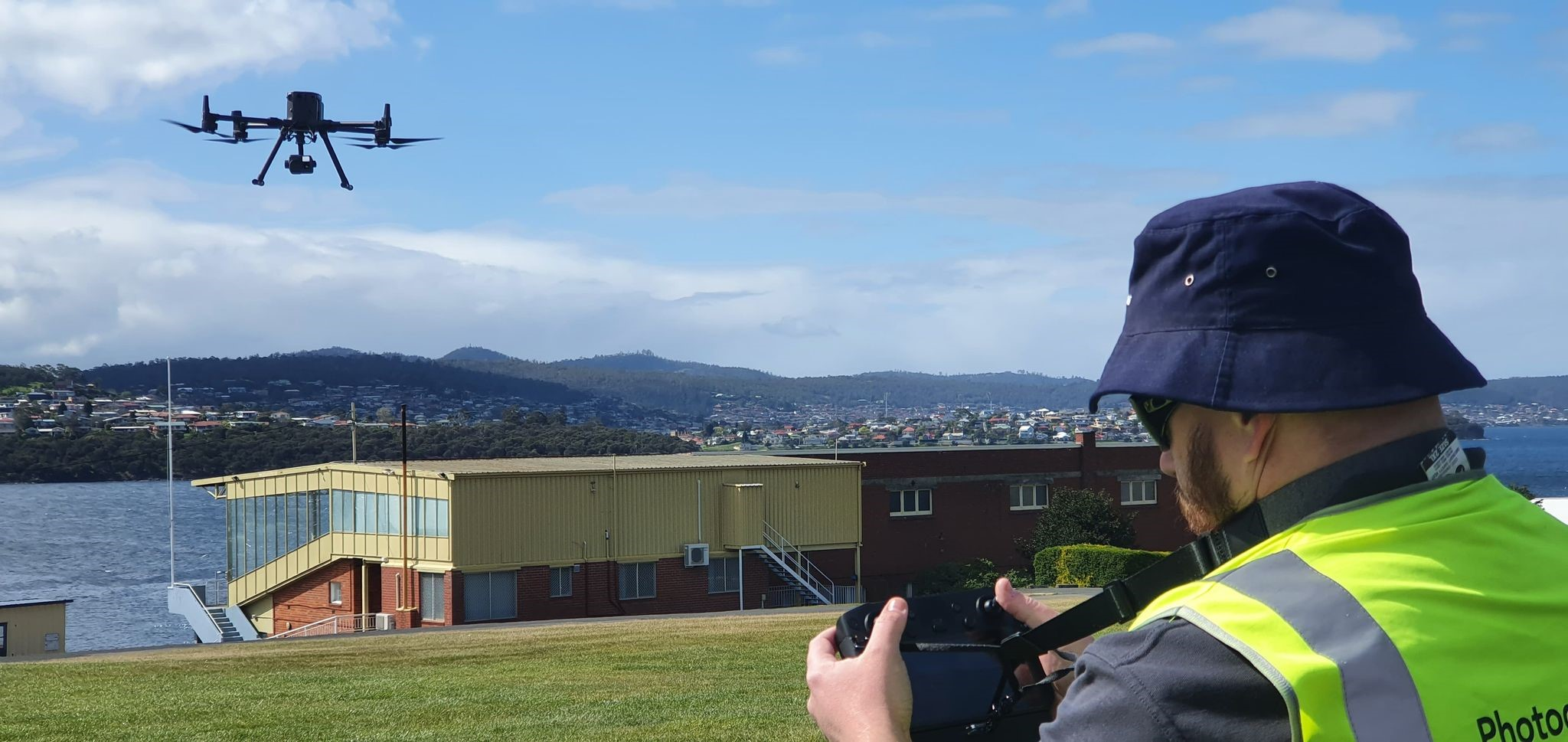 Craig Garth flying the Matrice 300 RTK at the Hobart Cenotaph