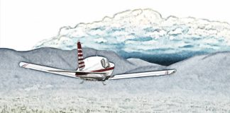 Illustration of small aircraft flying towards valley