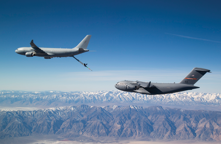 A Royal Australian Air Force KC-30A with a United States Air Force C-17A.