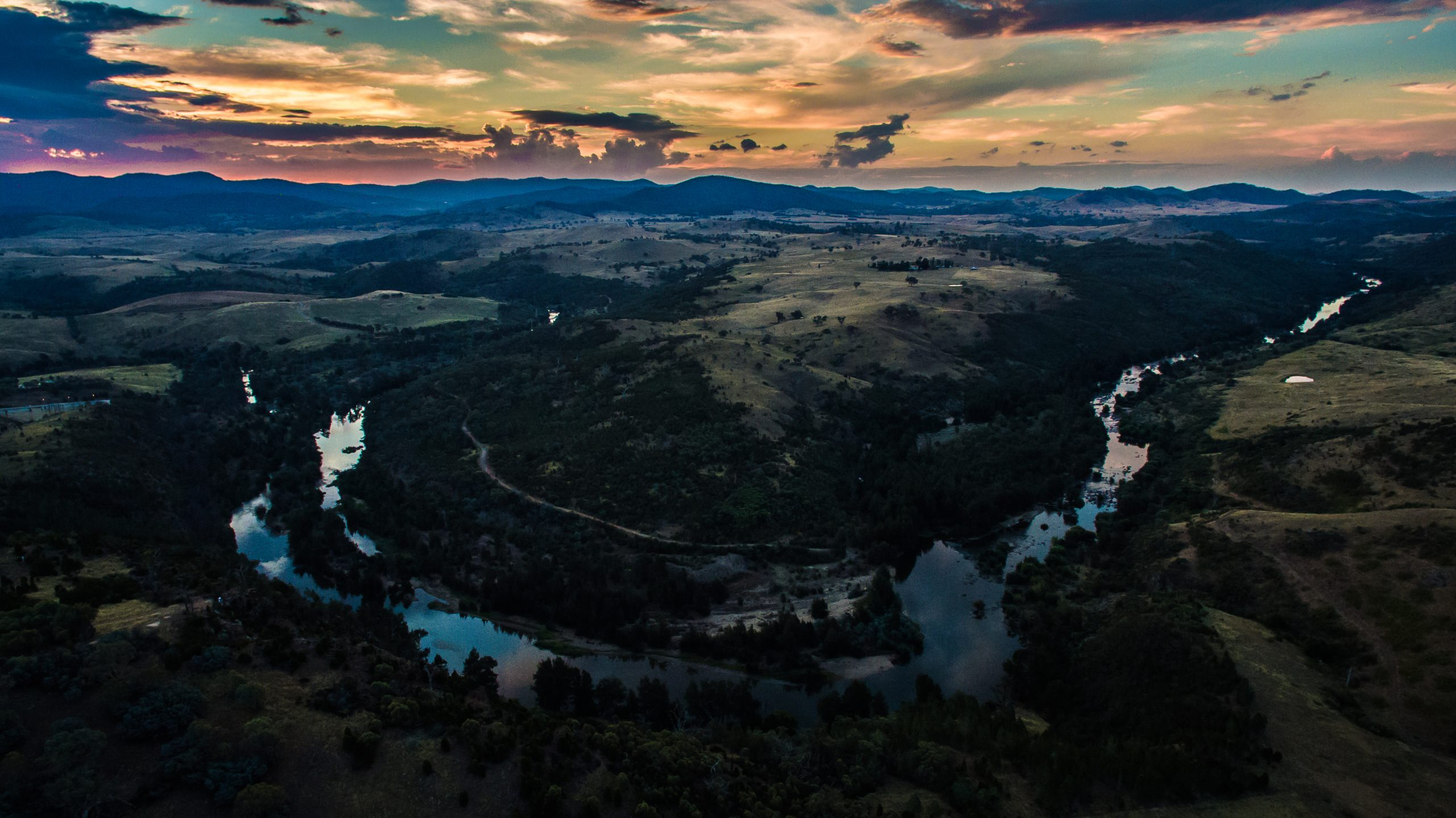 Aerial drone image from Shepherds Lookout, Canberra