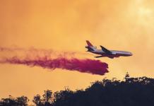 Large air tanker fighting a bushfire
