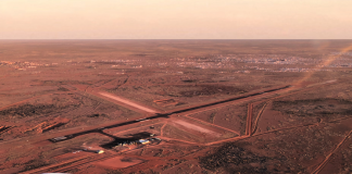 View of Coober Pedy from an aircraft